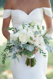 wedding photo - White Ranunculus And Eucalyptus Bouquet