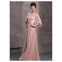 wedding photo - In Stock Charming Jewel Neck Pleated Floor-length Evening Dress - overpinks.com