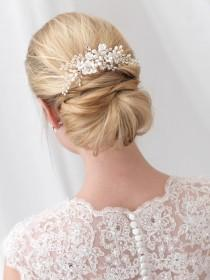 wedding photo - Floral Bridal Hair Comb, Flower Hair Comb, Pearl Hair Comb, Crystal Hair Comb, Wedding Hair Comb, Rhinestone Hair Comb, Hair Clip ~TC-2291
