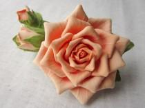 wedding photo - Hair barrette polymer clay flower. Cream rose with buds on a barrette.
