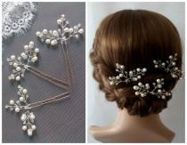 wedding photo - 3 Bridal Hair Pins Wedding Hair Pins Set of 3, Bridal Hair Pieces, Pearl Hair Pins, Hair Pins Wedding, Pearl Wedding Hair Pieces - Sabrina