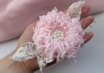 wedding photo - Flower for wedding,delicate flower,the bride flower,chrysanthemum pink flower in her hair, pale pink, lace, wedding