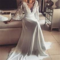 wedding photo - Boho Style Long Sleeve V-neck Long A-line Lace Chiffon Wedding Dresses, WD0096