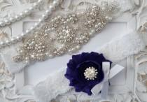 wedding photo - Wedding Garter Set, Bridal Garter Set, Vintage Wedding, Lace Garter, Pearl Garter, Style 200