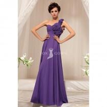 wedding photo - Lila Stock Länge Empire geraffte 3D-Blume eine Schulter Chiffon Prom Kleid - Festliche Kleider