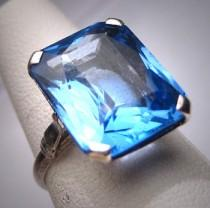 wedding photo - Antique Large Sapphire Ring Wedding Vintage Art Deco c.1920 Engagement