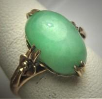 wedding photo - Antique Jade Ring Victorian Art Deco Vintage Wedding c.1900 Green