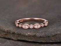 wedding photo - Sterling silver ring/Cubic Zirconia wedding band/CZ wedding ring/stack ring/Art Deco Matching band/Half eternity ring/Rose gold plated