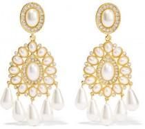 wedding photo - Kenneth Jay Lane - Gold-plated, Crystal And Faux Pearl Clip Earrings - one size