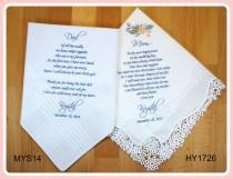 wedding photo - Mother of the Bride & Father of the Bride Handkerchiefs-Wedding Hankerchief-PRINTED-CUSTOMIZED-Wedding Gift-Mother of the Bride Gift