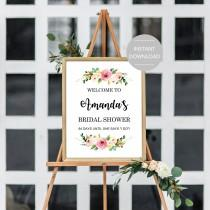 wedding photo - Bridal Shower Welcome Sign, Bridal Shower Sign Printable, Bridal Shower Sign Template, Editable Bridal Shower Sign, Floral Bridal Shower