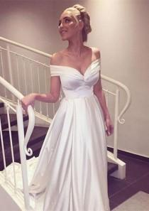 wedding photo - WD07 Off The Shoulder Charming Wedding Dresses,A-Line Long Train Wedding Dress Custom Made Wedding Gown, From Fancygirldress