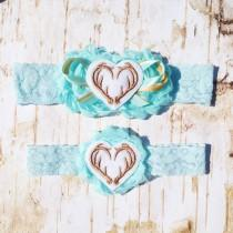 wedding photo - Antler Hearts Garter Set