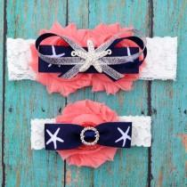 wedding photo - Coral and Navy Blue Beach Wedding Garter Set