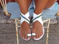wedding photo - Bohemian Leather Sandals, in Six Colors. Thalia - Free standard shipping