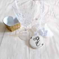wedding photo - Wedding favors monogram custom organza white bag wedding gifts for guests custom monogram groom bride monogram cold porcelain favors
