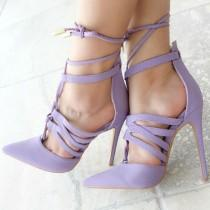 wedding photo - Strappy Lace Up Pointy Heels