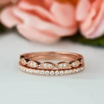 wedding photo - Art Deco Wedding Band and Half Eternity Band Set, Thin 1.5mm Engagement Ring, Man Made Diamond Simulants, Sterling Silver, Rose Gold Plated