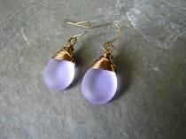 wedding photo - Lilac purple seaglass earrings,  Teardrop wire wrapped earrings, wedding jewelry, bridesmaid's gift teardrop  earrings Bridal Jewelry