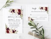 wedding photo - Wedding Invitation Template Set  floral Printable wedding invites set  Wedding Invitation Suite Rustic Wedding Invitation ASPM001