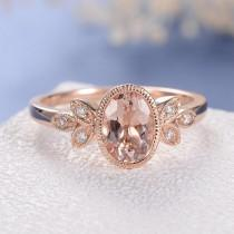 wedding photo - Antique Morganite Engagement Ring Delicate Oval Cut Morganite Ring Rose Gold Wedding Ring Flower Leaf Milgrain Bezel Set Anniversary Bridal