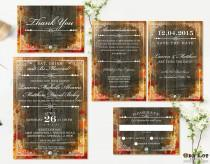 wedding photo - Rustic Fall Wedding Invitation Set Wedding Stationery Fall Wedding Autumn Leaves DIY Rustic Fall Wedding Set Digital Files