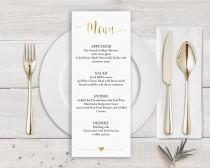 wedding photo - Gold Menu Template, Faux Gold Wedding Menu Card Template, Gold Calligraphy Wedding Menu Gold, Wedding Menu Printable, Faux Gold Foil Menu