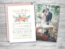 wedding photo - Watercolor Floral Wedding Invitation