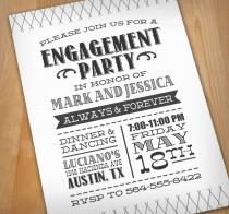 wedding photo - LETTERPRESS Engagement Party Printable Invitation