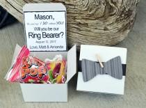 wedding photo - Will You Be My Ring Bearer Ring POP ~ Bow Tie Box Invite Time To Suit Up Rustic POP the Question Bowtie