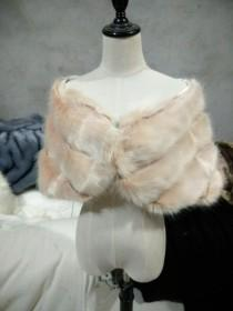 wedding photo - Blush Pink / Light Brown faux fur bridal wrap, Wedding Fur shrug, Fur Wrap, Bridal Faux Fur Stole Fur Shawl Cape, wedding faux fur wrap