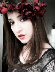wedding photo - Statement Flower Crown custom colors made to order hair Wreath costume Accessories red hairpiec celtic wedding bridal gothic black headdress