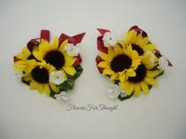 wedding photo - Sunflower Wrist or Pin Corsage w. Burgundy Ribbon, Wedding Decoration, Prom, 1 special occasion corsage