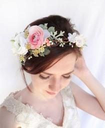 wedding photo - flower crown wedding, bridal flower crown, bridal flower headpiece, floral crown wedding, pink flower crown, ivory flower crown, berries
