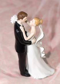 wedding photo - White and Silver Porcelain  Cake Topper Figurine - Custom Painted Hair Color Available - 707563