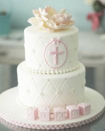 """wedding photo - FabCakelady Darlene On Instagram: """"Baptism Cake For Sweet Clara.  #baptismcake #cakelove #fondantcake #satinice #babygirl #cakedecorating #gumpasteflower #cakesdecor"""""""