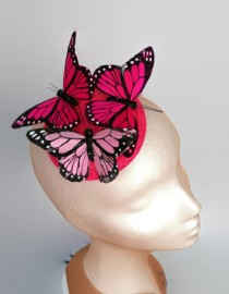 wedding photo - Butterfly fascinator, fuchsia fascinator,Kentucky derby hats,bright pink cocktail hat, pink headdress,Derby fascinator,pink headpiece