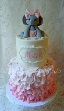 wedding photo - Pink Ruffles Baby Shower Cake