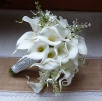 wedding photo - White Calla lily wedding bouquet Real touch mini white calla lily and creme lilac bridal bouquet