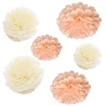 wedding photo - Bulk 12pcs Pech Ivory DIY Tissue Paper Pom Poms Flowers Wedding Birtday Bridal Shower Hanging  Party Decoration