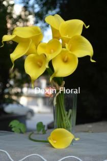wedding photo - 9 stems Yellow Calla Lily Real Touch Flowers for Wedding Bridal Bouquets, Centerpieces, Decorations