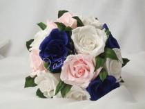 wedding photo - Bridesmaid bouquet ,paper flower, bridal bouquet, wedding paper flower bouquet, bridal flower,paper flower,bouquet paper flower,rose blue,