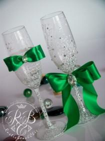 wedding photo - White & emerald, wedding champagne flutes, country, toasting glasses, crystals, gift ideas, bride and groom, lace, luxury traditional 2pcs