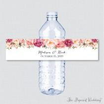 wedding photo - Printable OR Printed Wedding Water Bottle Labels - Rustic Pink Flower Custom Water Bottle Labels - Personalized Water Bottle Labels 0004