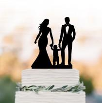 wedding photo - Funny Wedding Cake topper with boy, bride and groom wedding cake topper with child, funny wedding cake topper with kid, boy cake topper