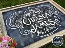 wedding photo - Shabby Chic Custom Wedding Chalkboard Art