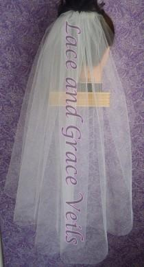 wedding photo - Wedding/Bridal Veil, White Single Layer Cut Edge