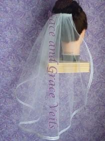 wedding photo - Wedding/Bridal Veil, White Double Layer with Trim