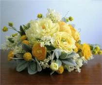 "wedding photo - Yellow, Silver Grey, and Ivory Cascading Silk Flower Bridal Bouquet, Boutonniere, Peonies, Ranunculus, Lilacs, Billy Button, ""Lively"""