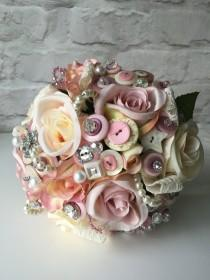 wedding photo - Wedding button bouquet, in vintage pink and ivory, flower bouquet, wedding bouquet, UK seller